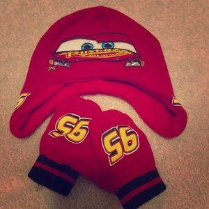 EUC Toddler Disney Cars Hat/Mittens
